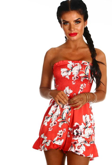 cheap for sale perfect quality order Floral Fusion Red Floral Frill Strapless Playsuit - 6 | Red ...