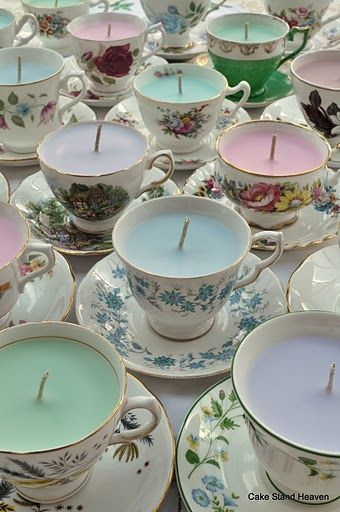 i LOVE the idea of candles in pretty china but mine is too nice to experiment with this! Maybe thrift shop finds would be better. Teacup Candles, Diy Candles, Scented Candles, Natural Candles, Home Crafts, Fun Crafts, Diy And Crafts, Teacup Crafts, Candle Making