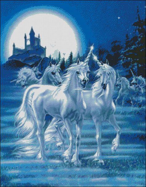 "Goldmilky cross stitch kit '' unicorns before castle ""18x23 inch (cc30)"