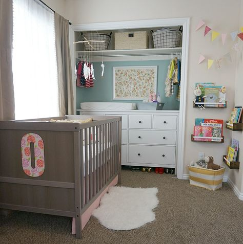 Great use of space in a shared nursery/toddler room. Put changing table in closet and remove doors to make it feel part of the space!