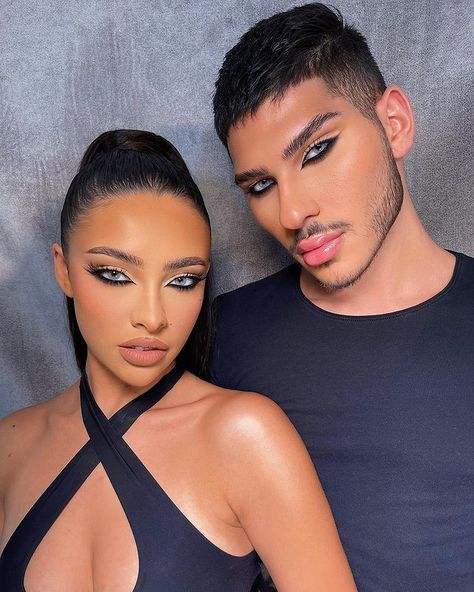 """Reverse cat eye 🔥 makeup by me on @niahbetancur_ & @andr.ew 🖤✨ #Him & #Her Want Product Deets⁉️👇🏽 — ▫️Contacts: @desioeyes """"Salty White"""" — #makeupbyme #makeupbykvn"""