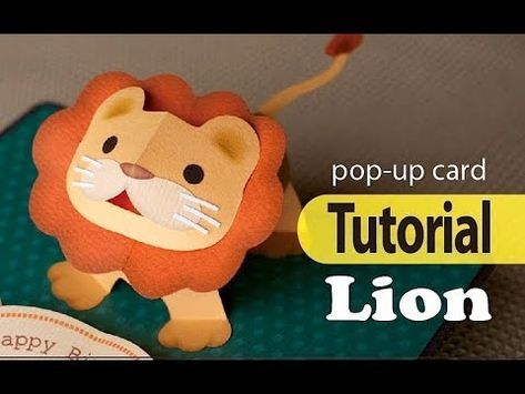 Tutorial Pop Up Card Lion Youtube Diy Pop Up Cards Pop Up Art Pop Up