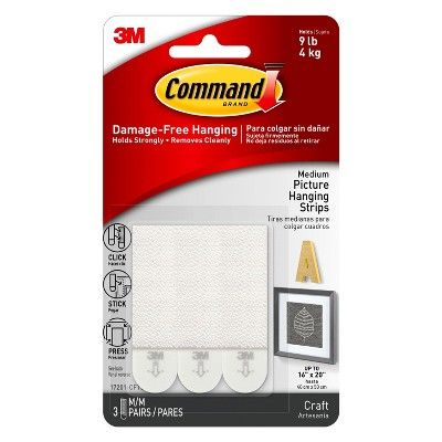 Command Medium Sized Picture Hanging Strips 3 Sets Of Strips White Picture Hanging Command Strips Picture Frame Hangers