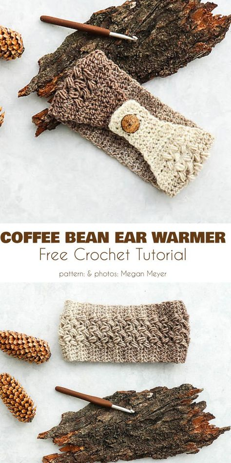Fetching Earwarmer Free Crochet Patterns Coffee Bean Earwarmer Free Crochet Pattern The Coffee Bean Earwarmer in particular is an attractive accessory and a fun project to make, with its coffee-and-cream color gradient and jaunty button. Crochet Ear Warmer Pattern, Crochet Headband Pattern, Knitted Headband, Crochet Beanie, Crochet Ear Warmers, Easy Crochet Headbands, Flower Headbands, Baby Headbands, Lidia Crochet Tricot