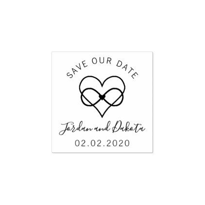 Create your own rustic custom modern save the date rubber stamp.