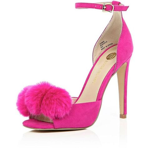 30b26781572e River Island Bright pink pom pom barely there heels ( 140) ❤ liked on  Polyvore