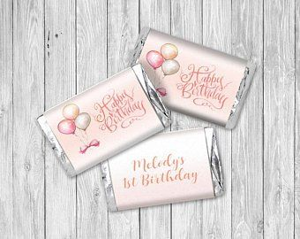 24 Happy Birthday Mini Candy Bar Wrapper Stickers Personalized 1st Birthday Party Favor First 1st Birthday Party Favors Birthday Stickers Candy Bar Wrappers