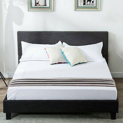 Full Size Platform Bed Frame Upholstered Headboard Slats Bedroom