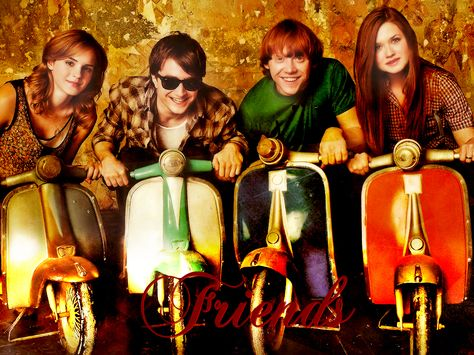 Celebrities on Motorbikes - Emma Watson, Daniel Radcliffe, Rupert Grint, Bonnie Wright by Teszt Teszt