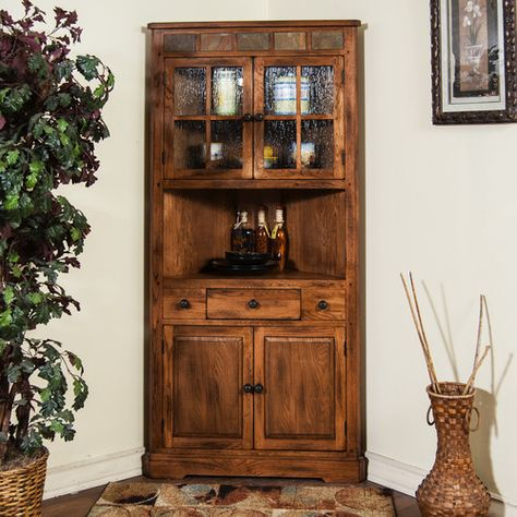 Amish Shaker 2-Door Corner Hutch | Corner hutch, Drawers and Corner