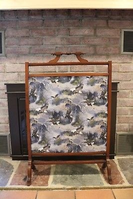 Details About Antique Wood Frame Fireplace Screen With Patriotic