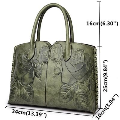 8f5e952d4b4b Women Retro PU Leather Handbag Embossed Peony Chinese Style Large ...