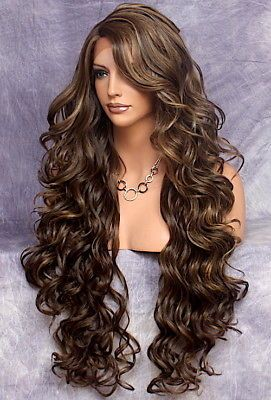40 034 Long Lace Front Wig Full Beautiful Curly Brown Mix Heat Ok