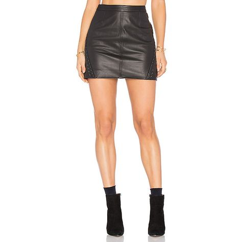 Paige Denim Johanna Skirt ($498) ❤ liked on Polyvore featuring skirts, paige denim skirt, leather zipper skirt, paige denim, knee length leather skirt and zipper skirt