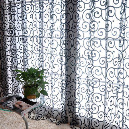 Vintage Floral Tulle Voile Door Window Decoration Drape Panel Sheer Curtain Valances Walmart Com Quality Curtains Curtains Tulle Curtains
