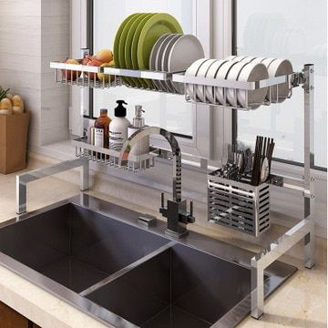 64 84cm Stainless Steel Drying Bowl Sink Rack Drain Kitchen Rack Supplies 2 Layer Sto Stainless Steel Kitchen Shelves Drying Rack Kitchen Kitchen Dish Drainers