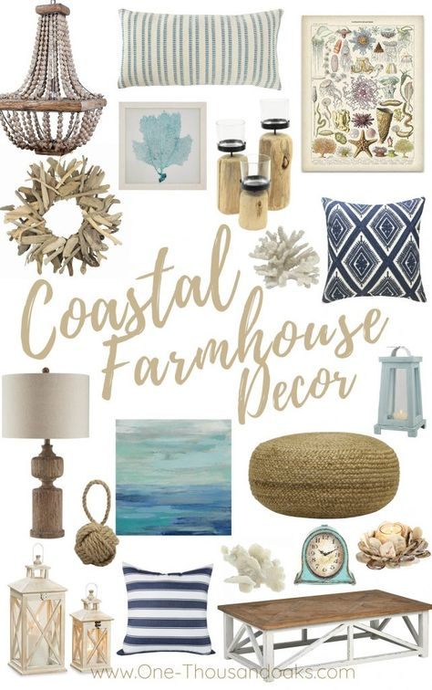 beach cottage style A collection of the Best Coastal Farmhouse Decor Accents. Beach inspired design for the fresh new style of Coastal Farmhouse decor for your home. Decor, Farm House Living Room, Coastal Farmhouse Decor, Farmhouse Decor, Beach House Interior, Accent Decor, Cottage Decor, Seaside Cottage, Cottage Living Rooms