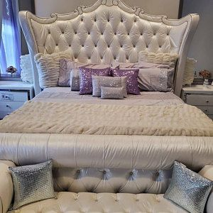 Tufted Tall Headboard Wingback Bed Frame Curvy Velvet Platform Crystal Button California King Queen Full Twin Custom Made Bed Frame Tufted Upholstered Bed Tufted Upholstered Headboard