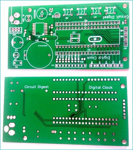 Digital Wall Clock On Pcb Using Avr Microcontroller Atmega16 And Ds3231 Rtc Digital Wall Clock Digital