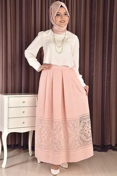 Modamerve Kolyeli Bluz Etek Ikili Takim Pudra Beyaz Rzg 6609 Moda Stilleri Victorian Elbiseler Kusakli Elbise
