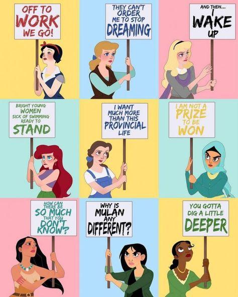 Künstlerin stellt Disney-Prinzessinnen als Frauenrechtsaktivisten vor – Cloé Mangetsuko |