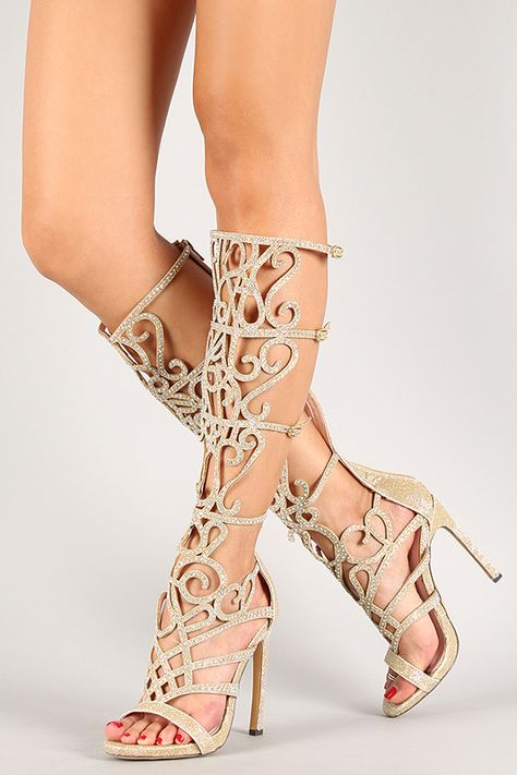 Glitter Rhinestone Strappy Knee High Open Toe Heel   Open