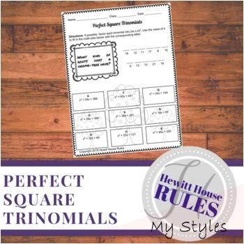 Perfect Square Trinomials Math Joke Worksheet Math Ilustration Math Jokes Perfect Squares Functions Math