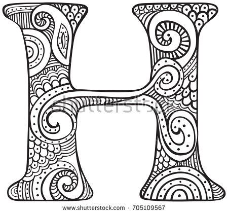 Image Result For Zentangle The Letter H Coloring Letters Colouring Sheets For Adults Coloring Pages