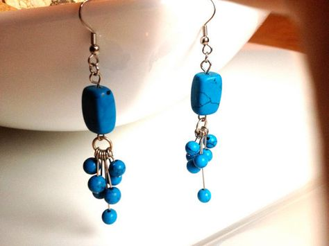 f80c3842c Turquoise chandelier earrings classic elegant by Triburban on Etsy, $15.00