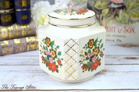 Sadler Vintage Ginger Jar, Porcelain Tea Caddy, ca. 1940