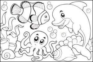 Boyama Kitaby Deniz Canlylary Resim Cizmek