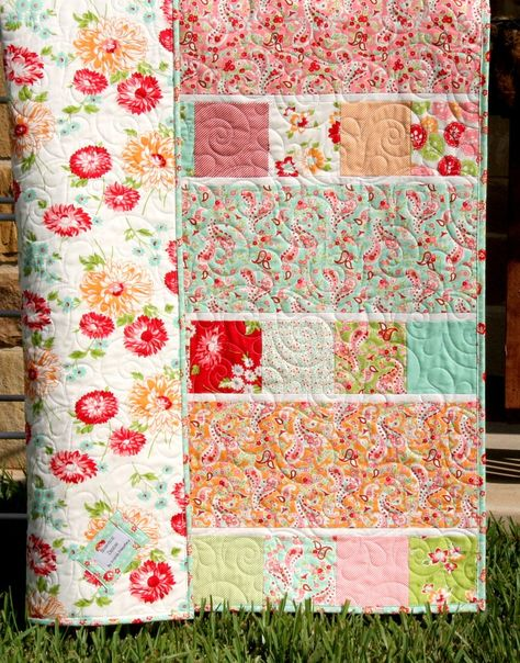 Quilt Kit Scrumptious Baby Girl Patchwork Bonnie and Camille Moda Fabrics Paisley Flowers Showcase OOP out of print HTF hard to find DIY SunnysideFabricsQuick Fabric Crafts Charm Pack - Showcase Quilt Pattern Charm Pack and Focal Fabric Friendly. Charm Pack Quilt Patterns, Charm Pack Quilts, Quilt Patterns Free, Simple Quilt Pattern, Charm Quilt, Block Patterns, Baby Patterns, Sewing Patterns, Baby Girl Quilts