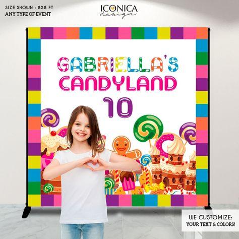 Candyland Backdrop,Candyland Birthday Banner Candyland Party Backdrop Any Age CANDYSHOP party Baking party, Printed backdrop - 8x8 ft / Top Pole Pocket