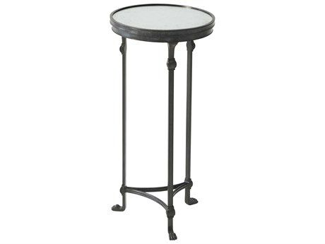 Theodore Alexander Tempered Glass Verdigris Brass 12 Wide Round End Table End Tables Tea Table Design Verdigris