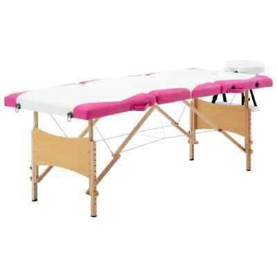 Vidaxl Bois Table De Massage Pliable 4 Zones Blanc Et Rose Lit Banc Cosmetique In 2020 Home Decor Folding Table Decor
