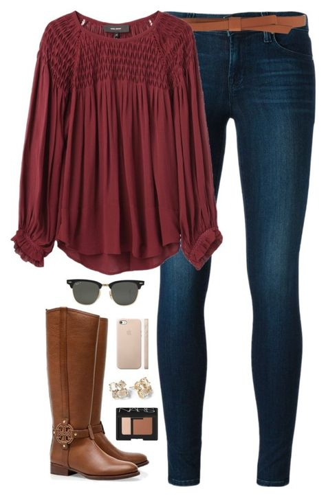 """""""more holiday festivities"""" by classically-preppy ❤ liked on Polyvore featuring J Brand, Ganni, Isabel Marant, Tory Burch, Ray-Ban, Kate Spade, NARS Cosmetics, women's clothing, women and female"""
