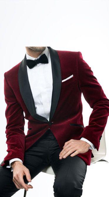 Tuxedo Jackets Men Red Velvet Peak Lapel One Button Slim Fit Blazer Wedding Groom Party wear Dinner Coat