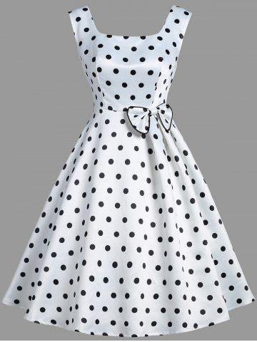 Vintage Bowknot Sleeveless Polka Dot Dress Vintage Dresses Online Fashion Dresses Casual Dresses