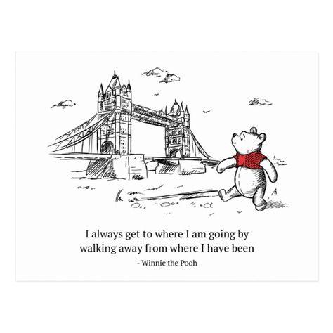 Winnie the Pooh | I Always Get to Where I Am Going Postcard | Zazzle.com