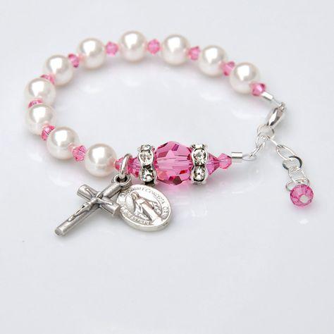 4c357e72d Baby Girl Rosary Bracelet - Rose Pink December Birthstone - Baptism Gift -Personalized  Custom Initial -Swarovski Crystal Pearls- Christening by ...