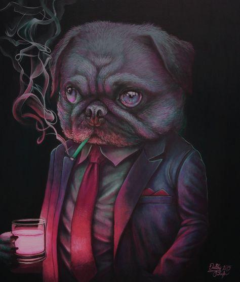 Shady Night Club Pug Painting By Gimgams Deviantart Com On Deviantart
