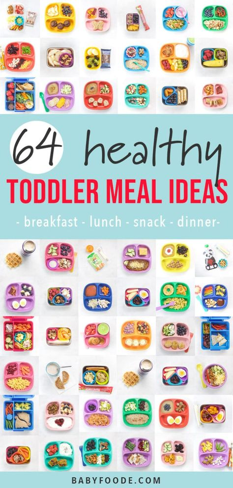 These 64 Toddler Meal Ideas are healthy, simple to make and can be customized to fit any toddler's preferences. This inspirational guide includes balanced and wholesome breakfast, snacks, lunch and dinner meal ideas. Healthy Toddler Lunches, Picky Toddler Meals, Healthy Kids, Toddler Food, Toddler Dinners, Toddler Stuff, Healthy Meals, Healthy Recipes, Daycare Meals