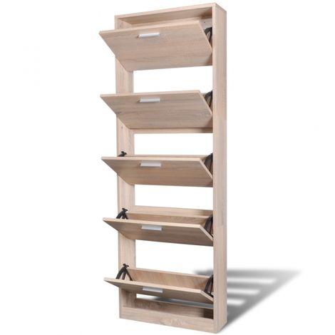 Meuble Armoire A Chaussure Bois Tiroirs 15 Paires 2002043 Wooden Shoe Cabinet Shoe Cabinet Wooden Shelves