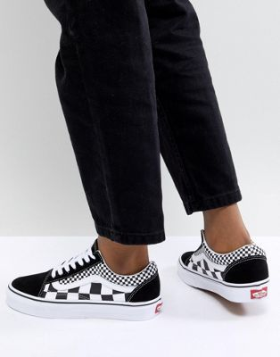 Vans Old Skool Sneakers In Mixed Checkerboard | Vans old