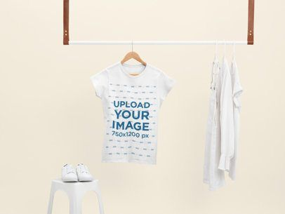 Download Placeit Mockup Of A Women S T Shirt Hanging With Only White Clothes In 2021 T Shirts For Women White Outfits Clothing Mockup