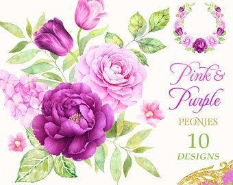 Watercolor Dusty Pink Indigo Wreaths Peony Floral Frames Etsy In 2021 Watercolor Flowers Digital Flowers Watercolor Rose