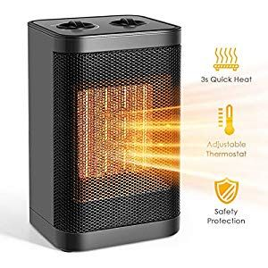 Portable Space Heater Adjustable Thermostat Indoor 750w 1500w Ceramic Electric Heater For Home Office Bedroom Persona Portable Space Heater Heater Space Heater