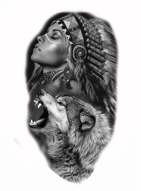 19 Ideas For Tattoo Designs Wolf Native American American Indian Tattoos Native American Tattoos Wolf Sleeve