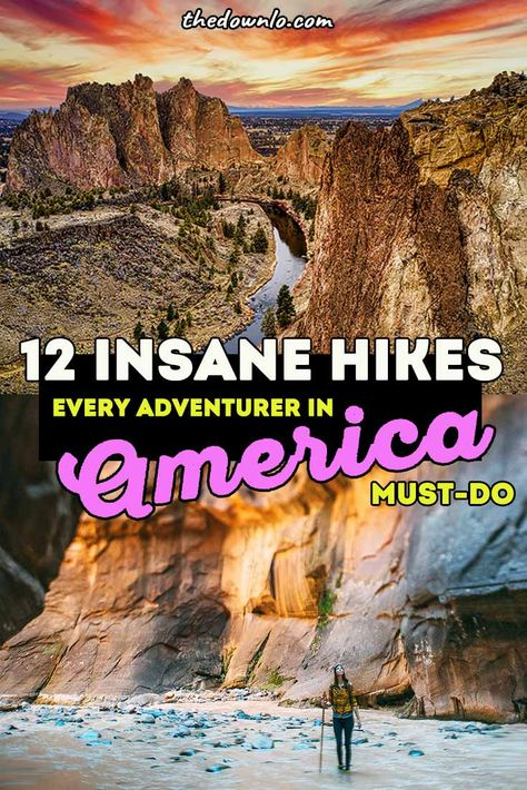 The best hikes in the US for epic trails and mountain photography. Tips and hacks for hiking beginners and pictures to inspire bucket list outdoor adventures in America with friends in California, Arizona, Colorado, PNW, and beyond. Pics and photoshoot ideas for epic adventure in USA and in the world for nature landscapes, national parks, mountains, waterfalls, desert wanderlust and Instagram. #hike #hiking #bucketlists #travel