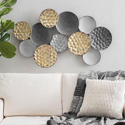 Mixed Metallic Orbit Collage Wall Plaque Metal Metal Wall Art Decor Metal Living Room Decor Circle Metal Wall Art